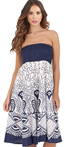 Pistachio, Damen 2 in 1 Baumwolle Sommer Urlaub Kleid Blue Swirl 2