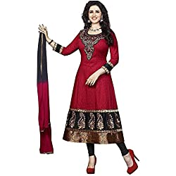 Dress Material for women latest party wear design today offers buy online for low price sale Red color and Cotton Fabric Unstitched salwar suit