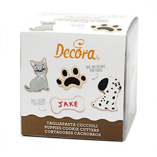 Decora 0255079Set von 4Ausstecher, Katze/Hund/Paw Print/Knochen, Kunststoff, Braun