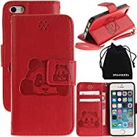 DRUnKQUEEn iPhone SE case, iPhone 5s Case, iPhone 5 Case, 3D Creative Cartoon Panda Cover Soft Leather Case with Hand Strap for iPhoneSE / iPhone5s / iPhone5 - Red