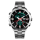 Cronografo da uomo Bozlun in acciaio inox, orologio da polso impermeabile fino a 3atmosfere, display Dual Time digitale, cronometro automatico, data, orologio da polso