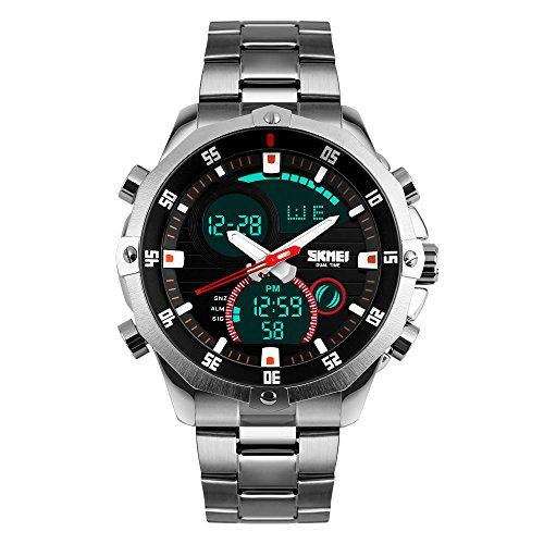 Reloj de pulsera cronógrafo de Bozlun, digital, de acero inoxidable, resistente al agua 3 ATM, pantalla con doble indicación horaria, fecha automática