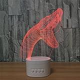 LT&NT 3d tête de serpent illusion d'optique visual veilleuse avec bureau bluetooth speaker base led Lampe de table, 5 couleurs changent usb, Enfants Veilleuse sommeil de bébé, Décoration de noël cadeau-C