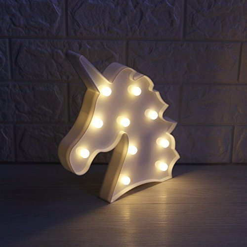 One Size , White : elans® Cute Unicorn Shaped Animal Light Table Lamp 3D Marquee Unicorn LED Nightlight Kids ld Bedroom Wall Lamps Home Decoration Battery Operated