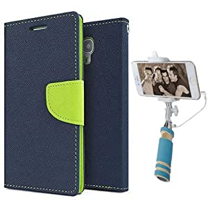 Aart Fancy Diary Card Wallet Flip Case Back Cover For Nokia 720 - (Blue) + Mini Aux Wired Fashionable Selfie Stick Compatible for all Mobiles Phones By Aart Store