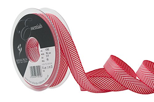 Berisfords Ruban en Polyester tissé à Chevrons Rouge 16 mm