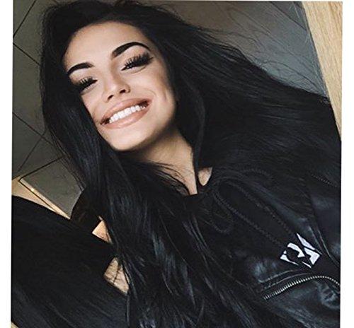 Vébonnie Natürliches Schwarz/Dunkelbraun, Synthetische Perücke mit Spitzenfront, für schwarze Frauen, realistisch aussehendes, langes, welliges Haar, perfekt für den täglichen Gebrauch, hitzebeständig, 61cm