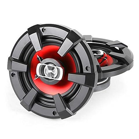 Auna SBC-5121 Paire de haut parleurs auto - Deux enceintes coaxiales 3 voies (13cm, 89 Décibels pour Voiture 13cm) - Rouge et noir