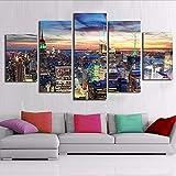 lbonb Pas De Cadre Toile HD Impressions Affiches Murales Art 5 Pièces New York City Gratte-Ciels Nightscape Peintures Bâtiment Photos Home Decor Cadre...