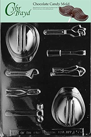 Cybrtrayd J055 Hard Hat Tools Hammer Chocolate Candy Mold with Exclusive Chocolate Molding Instructions