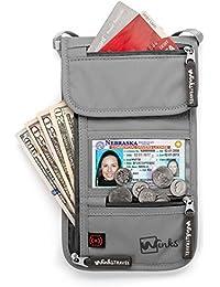 Sacoche tour de cou Winks avec poche passeport à blocage RFID pour voyage - Rangement 7 poches