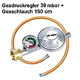 Gasregler 30 mbar Druckminderer Druckregler mit Manometer und Schlauchbruchsicherung Gasschlauch 150 cm