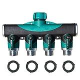 Starall Vierfachanschluss für Gartenschläuche Wasserhahn-Adapter für den Außenbereich mit 4 Schnellanschlüssen und 3 Gummidichtungsringen