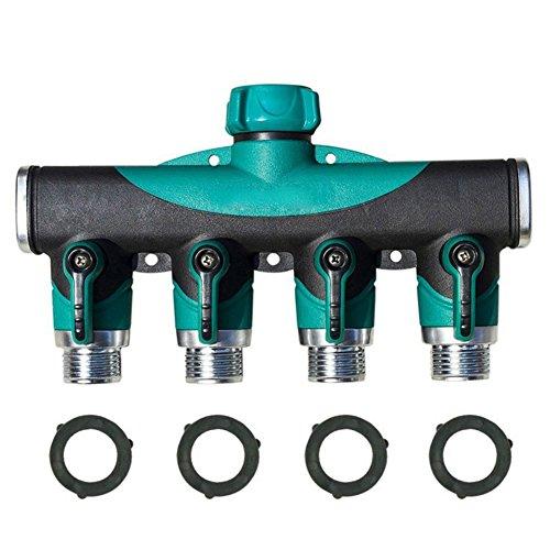 4 Way Tuyau d'arrosage d'eau Splitter, Starall connecteur Flexible pour robinet extérieur de l'adaptateur de robinet de jardin robinet adaptateur avec 4 connecteurs rapides et 3 rondelles en caoutchouc