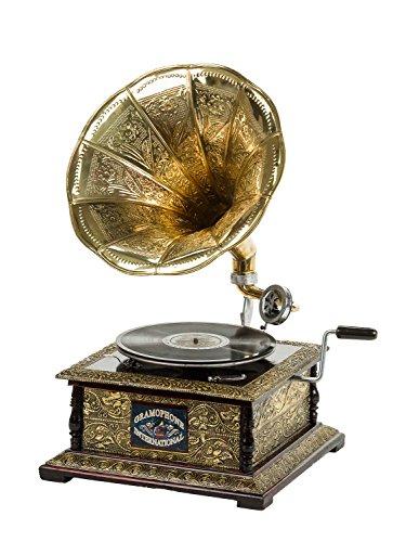 aubaho Nostalgie Grammophon Gramophone Grammofon Schellackplatte Trichter im Antik-Stil