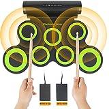 Elektronisches Schlagzeug-Set, pädagogische frühe Entwicklungsspielzeuge für Kinder, Jungen, Mädchen, tragbares Rollup 7-Pad, elektrischer Schlagzeugsatz, kreative Geburtstagsgeschenkideen