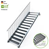 Außentreppe 13 Stufen 120 cm Laufbreite - einseitiges Geländer links - Anstellhöhe variabel von 216 cm bis 260 cm - Gitterroststufe ST1 - feuerverzinkte Stahltreppe mit 1200 mm Stufenlänge als montagefertiger Bausatz
