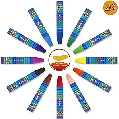 BIC Kids Maletín de colores – 12 Ceras Blandas para Colorear /12 rotuladores de colores Magic /6 Tubos de Pegamento con Purpurina y 1 Póster para Colorear