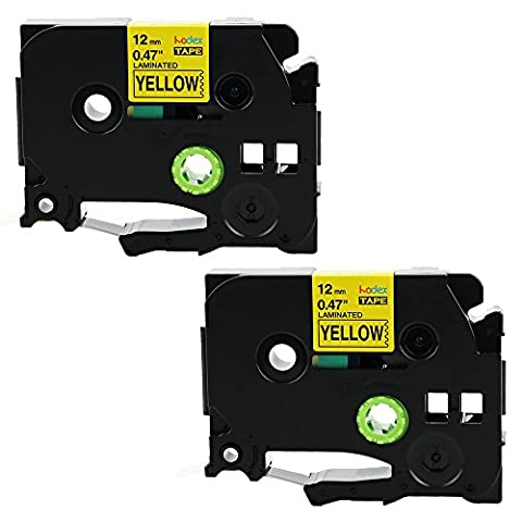 Kodex TZe-631 Laminated Label Tape Black on Yellow 12 mm x 8 m Compatible for Brother P-touch PT1700 PT1750 PT1760 PT1800 PT1810 PT1830 PT1880 PT1890W PT1900 PT1910 PT1950 PT1960 PT2030 PT2030AD PT2030VP PT2100 PT2110 PT2200 PT2210 PT2300 PT2310 PT2400 PT2410 PT2430PC