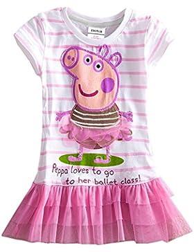 cooshional Peppa Pig Vestido de Tul para Niña Chica Managa corta Vestido Rosa de Princesa