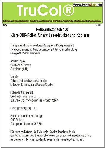 50 Blatt DIN A4 Laser Kopierer S/W Antistatisch beschichtet OHP Overheadfolien Transparente Folie für den Laser-Xerographic-Druckprozess mit Toner-Empfangsschicht und beidseitiger antistatischer Behandlung (Laser-toner-folie)