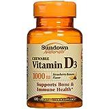 Sundown Naturals - à macher Vitamine D3 Fraise-Banana 1000 IU - 120 Comprimés