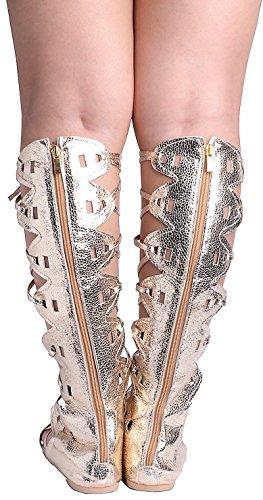 Odema Donne Roman Tagliare ginocchio Sandali Tacchi Strappy gladiatore Thong Flat Boots 5-oro