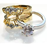 1.45ct Little Princess 2 Tone 2 pieces RIng in Yellow & White Gold Electroplate. 6mm Brilliant Round Swarovski Crystal Elements Outstanding Quality