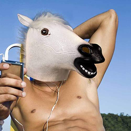 Kostüm Horse White - KTSKT Gummi Latex Neuheit Halloween Kostüm Pferdekopf Maske Weihnachtsfeier Dekorationen Kostümzubehör (White Horse