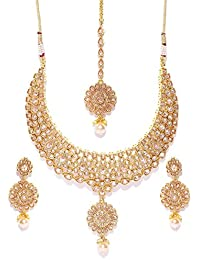 Shayna Jewellery Gold Plated Stone Studded Necklace Set With Earrings And Maang Tikka