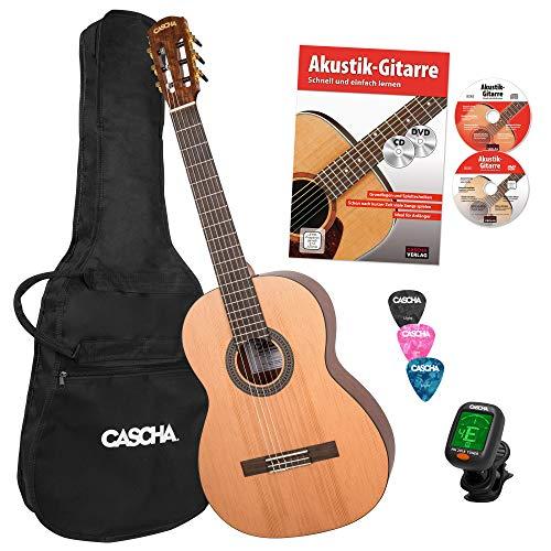 CASCHA 4/4 Konzertgitarre Einsteiger Set, inkl. Lehrbuch, Stimmgerät, Gigbag/Tasche, 3 Plektren, klassische Kindergitarre ab 10 Jahren für Anfänger, Classic Guitar, Nylonsaiten