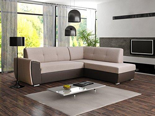 Ecksofa Sofa Eckcouch Couch mit Schlaffunktion und Bettkasten Ottomane L-Form Schlafsofa Bettsofa Polstergarnitur - VERONA II (Ecksofa Rechts, Cappuccino)