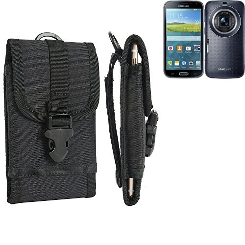 K-S-Trade® Per Samsung Galaxy K Zoom LTE Marsupio Custodia Cassa del Telefono Calotta di Protezione Smartphone Sacchetto Holster Cintura Nero Pianura Semplice Eleganza Funzionale Protettiva Verticale