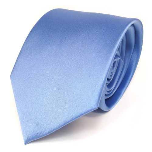 TigerTie Satin Krawatte blau hellblau uni Polyester - Schlips Binder Tie
