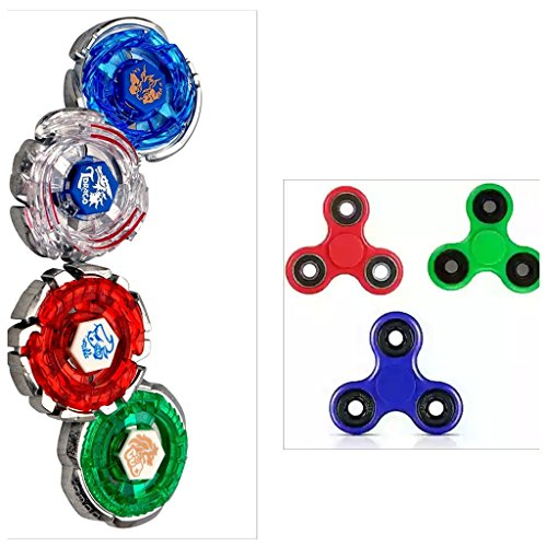 COMBO PACK OF 3 Fidget Spinner + 4 Bey blade's 4D Set With Ripchord Launcher & Stadium GRAB THIS COMBO NOW- Limited Stock!!