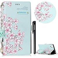 f54e104b392 BtDuck - Funda de piel con tapa para Sony Xperia L1, diseño floral vintage,