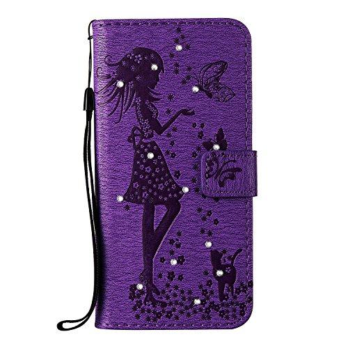 EKINHUI Case Cover Für Apple iPhone 7 Plus Fall Abdeckung, geprägtes Mädchen Muster Strass Premium TPU / PU Leder Geldbörse Flip Stand Case mit Halter & Lanyard & Card Slots ( Color : Blue ) Purple