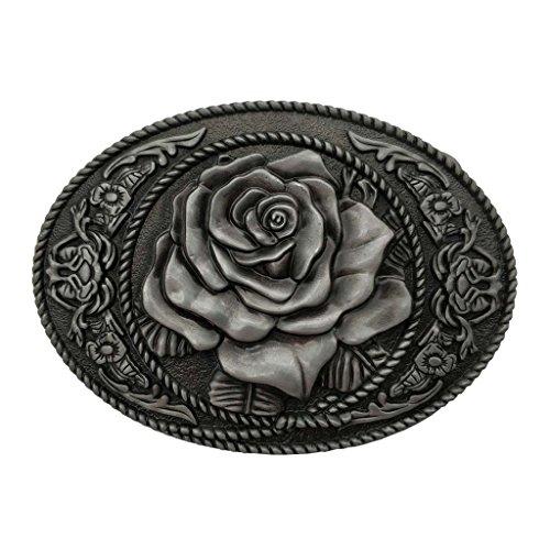 YONE Hebilla de cinturón Oval Flower Rose Belt Buckle Cowgirl Rodeo Floral Buckles Grey