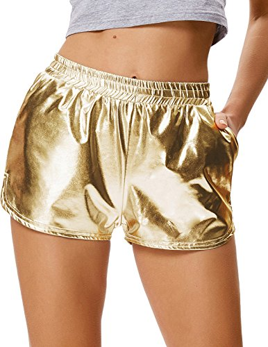 Kate Kasin Mädchen Einfarbig Metallic Dance Fitness Sport Gym Hot Pants Shorts Golden (862-4) Large Hot Kind-shorts