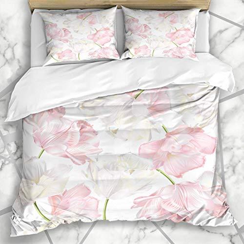 Soefipok Bettbezug-Sets Inhaltsstoffe Kosmetisches Muster Weiß Rosa Tulpe Parfüm Natur Spa Blume Frühlingspflege Grafikbad Mikrofaser Bettwäsche mit 2 Kissenbezügen -