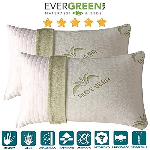 Evergreenweb - coppia cuscini fiocco di memory foam con fodera aloe vera 42x72 alti 15 cm, modello saponetta, adatti per dolori cervicali, federa sfoderabile e lavabile, guanciali letto antiacaro