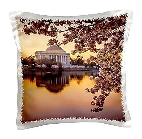 Danita Delimont–Brian Jannsen–seconde Guerre Mondiale–Cherry Blossoms et le Jefferson Memorial à l'aube, Washington DC, USA–Taie d'oreiller, Satin, blanc, 16 x