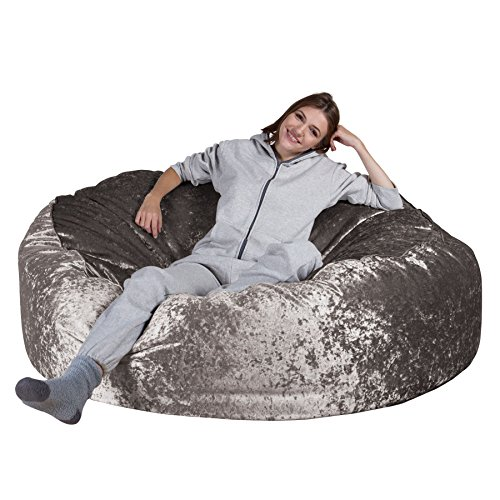 Lounge Pug, 'Mega-Mammoth' Sofa Sitzsack XXL, Schlafsofa, Retro-Samt Silber