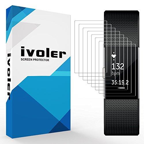 iVoler [8 Stück] Schutzfolie Displayschutzfolie für Fitbit Charge 2, 3D Vollständige Abdeckung [Wet Applied] [Anti-Kratz] [Blasenfrei] HD TPU Weich Folie
