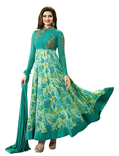 RV Creation New Designer Green Long Anarkali Suit Semi-Stitched Anarkali Suit