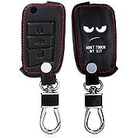Hülle für VW Golf 7 MK7 3-Tasten Autoschlüssel - kwmobile Kunstleder Schlüssel Schutzhülle - Etui Schlüsselhülle Cover in Don't touch my Key Design Weiß Schwarz