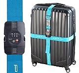 PEARL Kofferband: TSA-zertifizierter Kreuz-Koffergurt mit Zahlenschloss, 5 x 400 cm (TSA Kreuzkoffergurt)