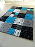 TEAL BLACK SILVER GREY MOTTLED SMALL MEDIUM XX LARGE RUG NEW MODERN SOFT THICK CARVED CARPET NON SHED RUNNER BEDROOM LIVING ROOM AREA RUG MAT (120 x 170 cms)