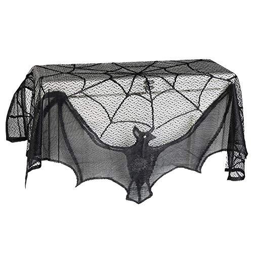 Ouken Halloween Gruselige Stoff-Dekoration, Schwarze Spitze, Fledermaus Spiderweb Kamin Schal Abdeckung Tischdecke für Halloween Festival Party Supplies