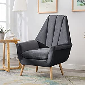 Warmiehomy Modern Velvet High Wing Accent Chair Bedroom Living Room Armchair Occasional Chair with Solid Wooded Legs (Grey)